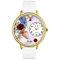 Personalized Birthstone Jewelry: July Birthstone Watch in gold or silver case