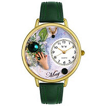 Personalized Birthstone Jewelry: May Birthstone Watch in gold or silver case