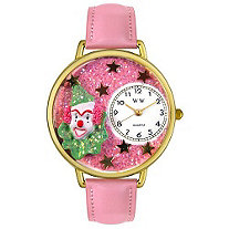 Personalized Pink Glitter Clown Watch in gold or silver case