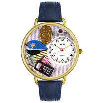 Personalized Police Officer Watch in gold or silver case