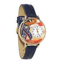 Personalized Patriotic Watch Italian Leather Band in Yellow Gold Tone