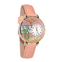 Hand-crafted Personalized Nurse-Theme Yellow Gold Tone Watch Italian Leather Adjustable Band