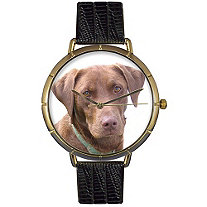 Chocolate-Labrador Retriever Photo Watch in Gold Unisex