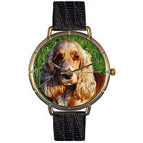 Cocker Spaniel Photo Watch in Gold Unisex