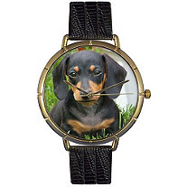 Dachshund Photo Watch in Gold Unisex