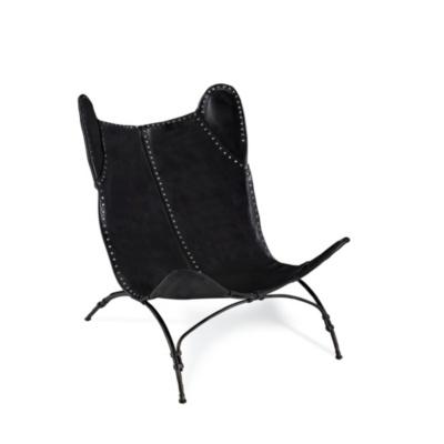 New Safari Camp Chair - Black Leather