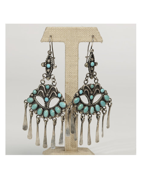 "Contemporary Artisan Turquoise ""Fan"" Earrings"