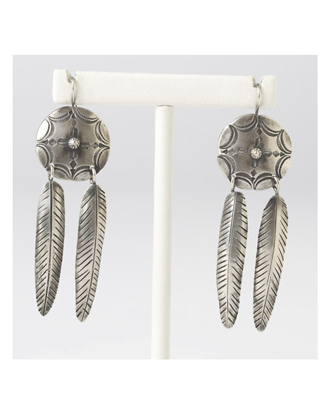 Contemporary Artisan Concho with Feather Earrings