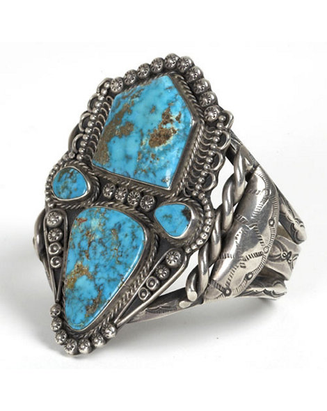 Navajo Silver and Morenci Turquoise Cuff
