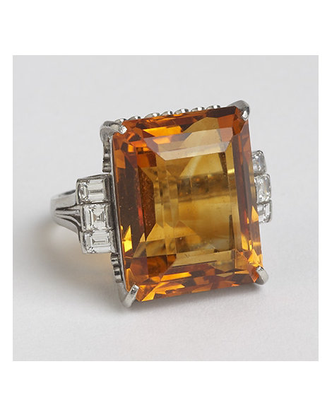 Citrine, Diamon, and Platinum Cocktail Ring