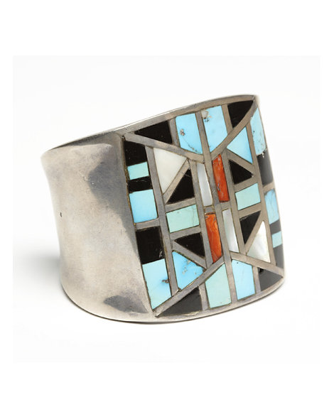 Large Silver Zuni Inlay Cuff