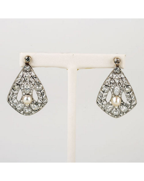 Diamond and Pearl Tear-drop Earrings