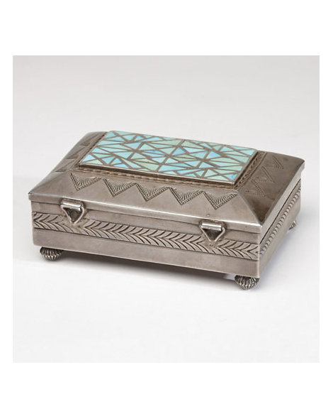 Stamped Silver and Turquoise Box