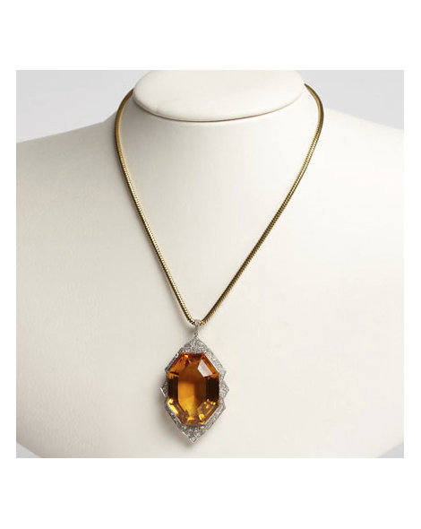 Art Deco Citrine Pendent on 18kt Gold Snake Chain