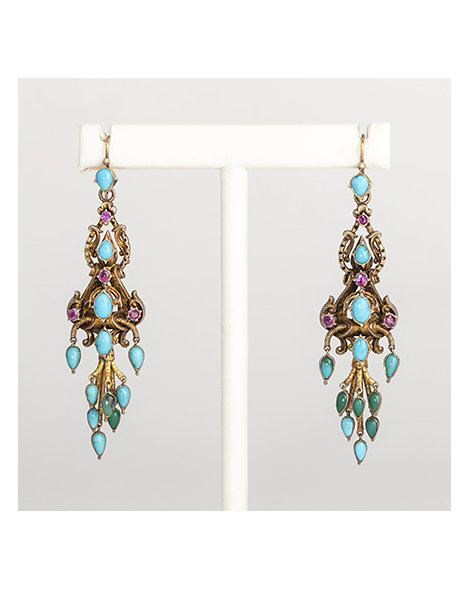 Persian turquoise, ruby and gold pendant earrings