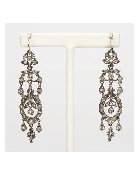 Sterling Silver and White Paste Earrings