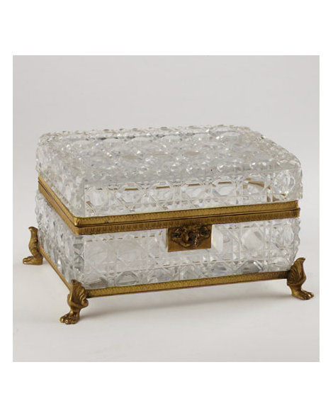 Large Cut Crystal and Gilt Box