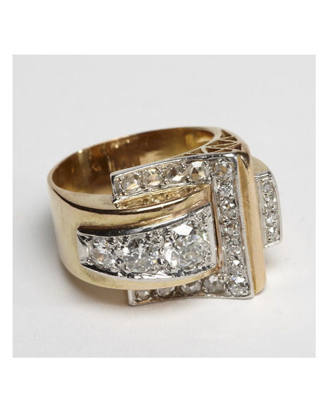 Gold and Rose-Cut Diamond Retro Buckle Ring