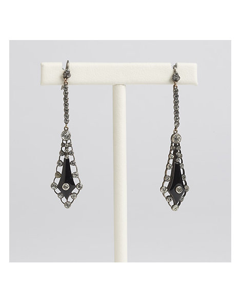 Paste and Onyx Earrings
