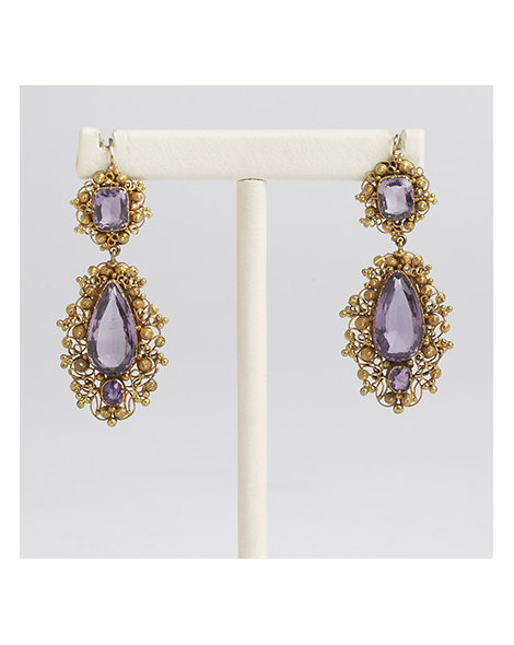 Gold and Amethyst Drop Earrings