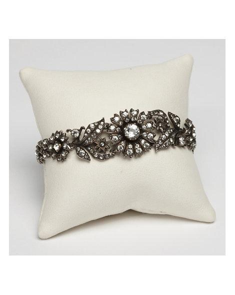 Sterling Silver and Paste Floral Bracelet