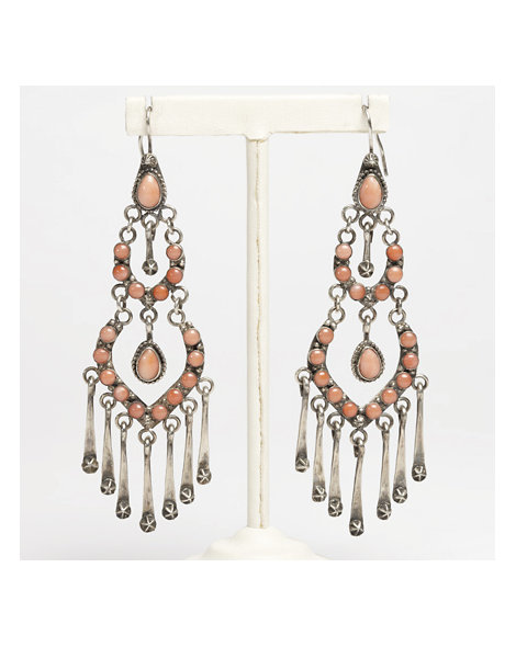 Contemporary Hand-made Coral and Silver Chandelier Earrings