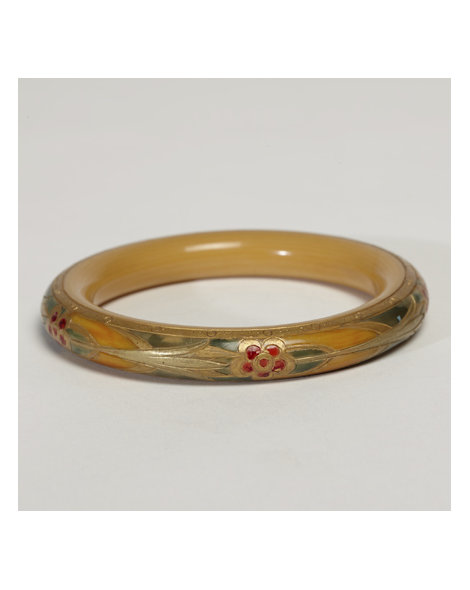 Tan and Green Celluloid Bangle