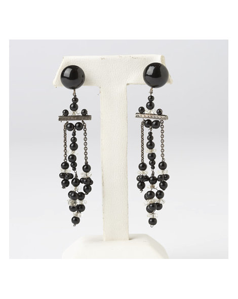 Crystal and French Jet Earrings