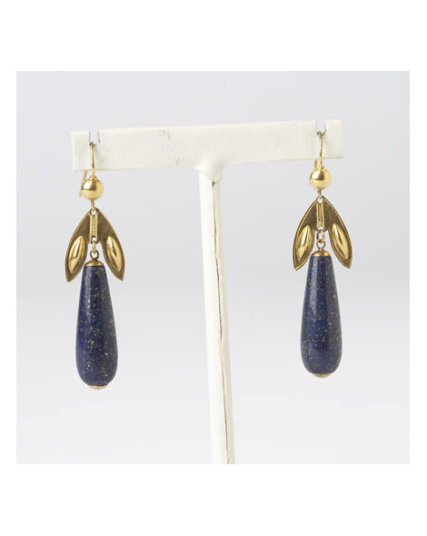 15kt Gold and Lapis Lazuli Drop Earrings