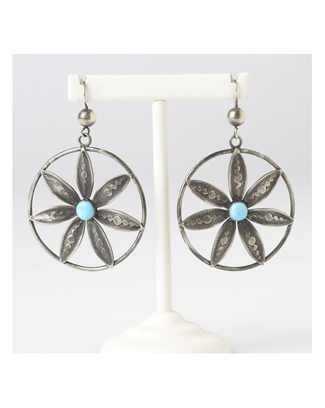 Contemporary Artisan Flower Hoop Earrings