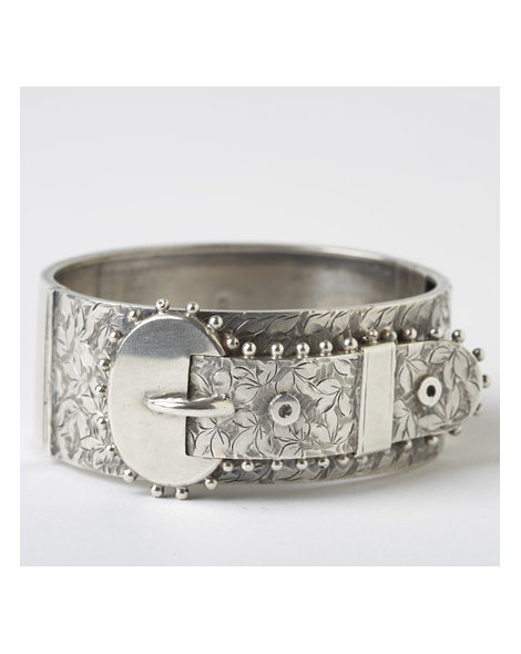 Victorian Sterling Silver Buckle Bangle
