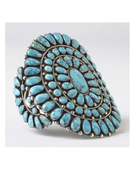 Ondelacy Blue Gem Turquoise Cluster Cuff
