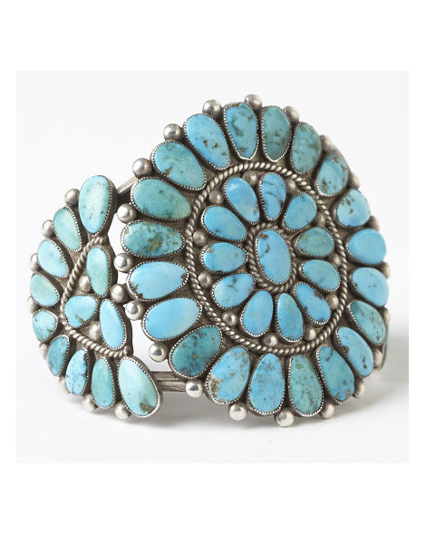 Silver and Turquoise Cluster Cuff