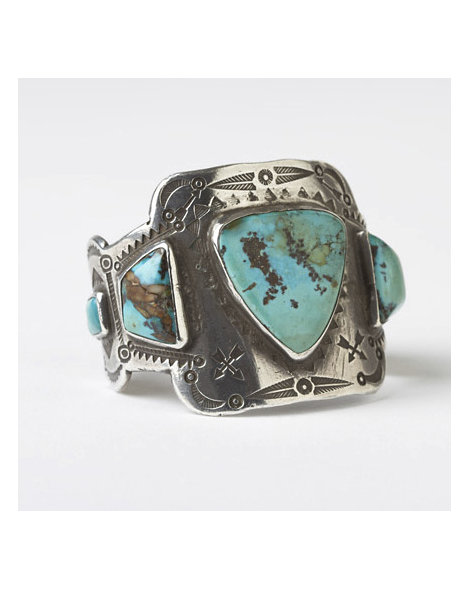 Turquoise and Ingot Silver Cuff