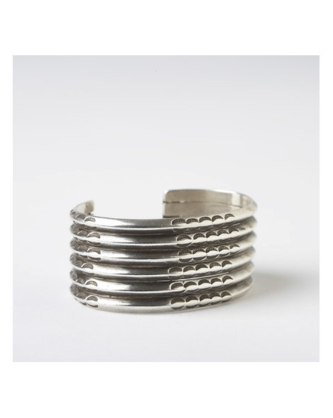 Multi-Row Coin Silver Bracelet
