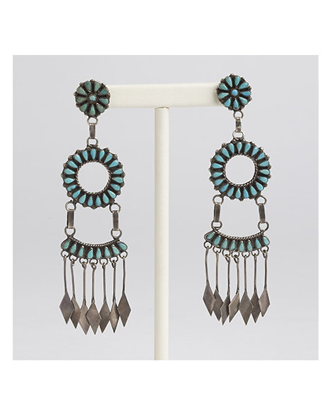 Zuni Turquoise Chandelier Earrings