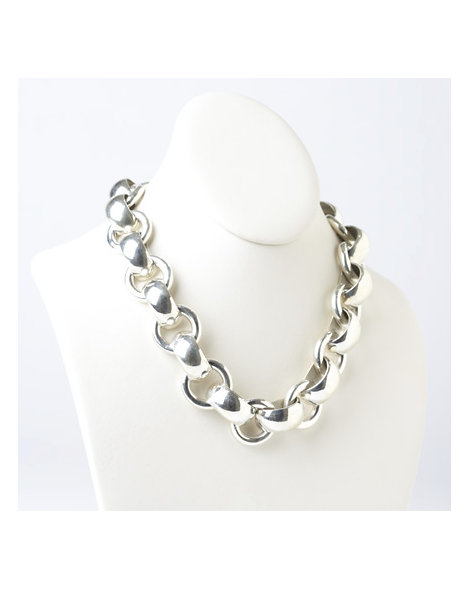 Contemporary Bench-Made Silver Link Necklace