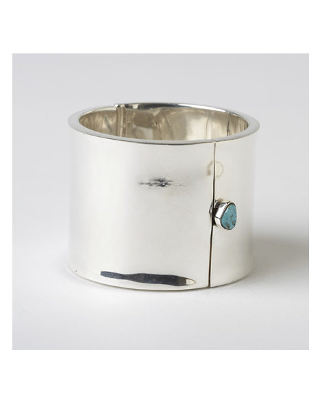 Contemporary Bench-Made Silver and Turquoise Bracelet