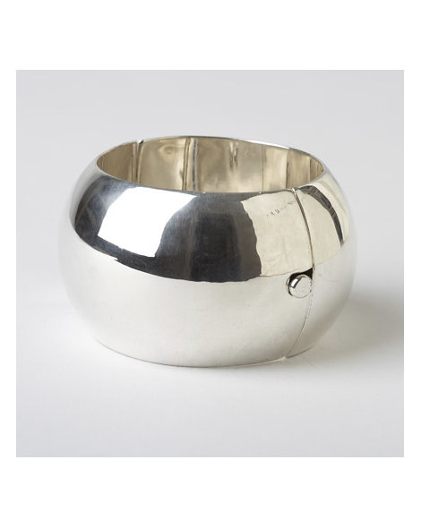 Contemporary Bench-Made Rounded Silver Bracelet