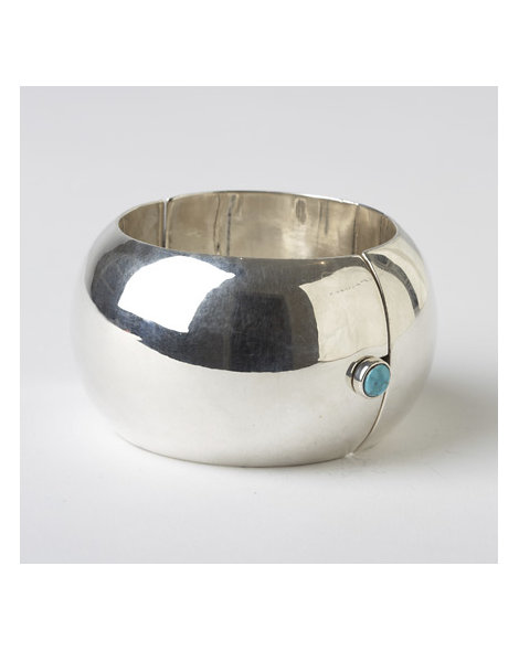 Contemporary Bench-Made Rounded Silver and Turquoise Bracelet