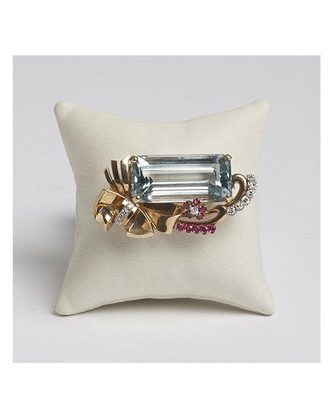 Aquamarine, Ruby and Diamond Pin