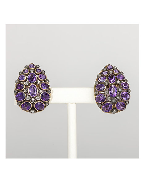 Amethyst & diamond pear shaped earrings
