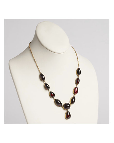 C1870 Garnet and Silver Chain Necklace