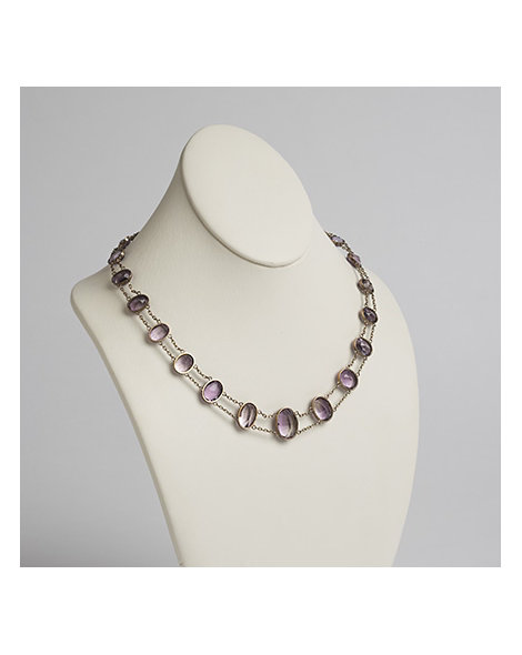 Amethyst and Gold Double Chain Riviere Necklace