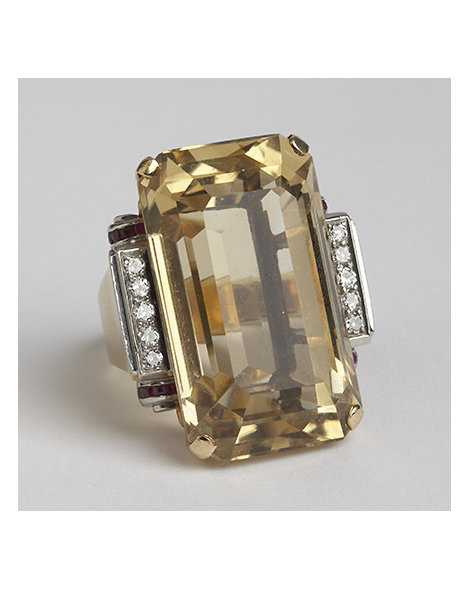 Gold, Platinum, Citrine, Ruby, and Diamond Cocktail Ring