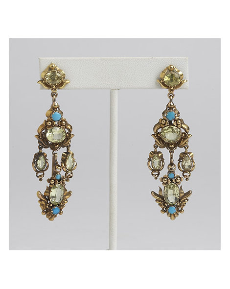 Gold, Chrysoberyl, and Persian Turquoise Earrings