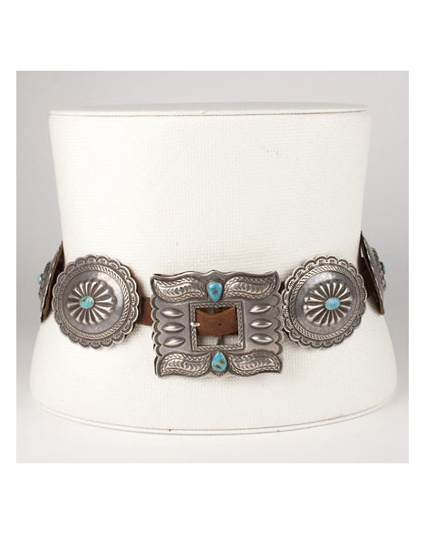 1930s Silver and Turquoise Concho Belt