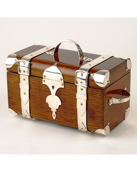 Silver-Plate and Oak Humidor Trunk