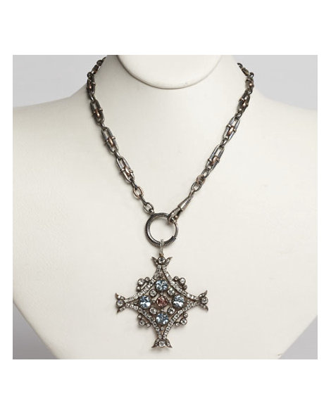 Diamond, Aquamarine & Imperial Topaz Quatrefoil Pendent on Niello Chain