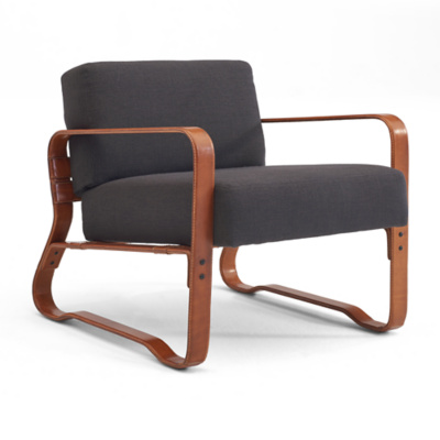 Cliff House Leather-Wrapped Lounge Chair - Saddle